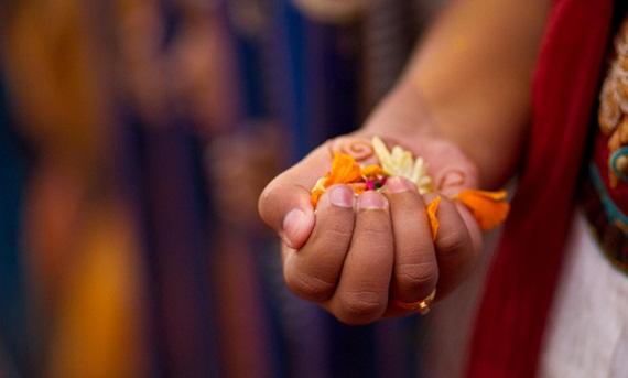 Pushpanjali in durga puja celebration