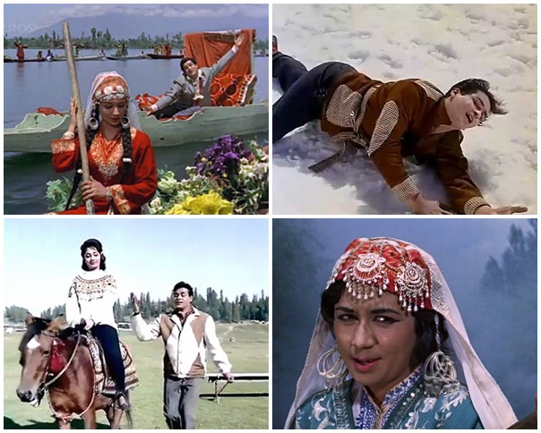 bollywood films shooting in kashmir, kashmir in bollywood movies of 1960s, romantic songs in kashmir