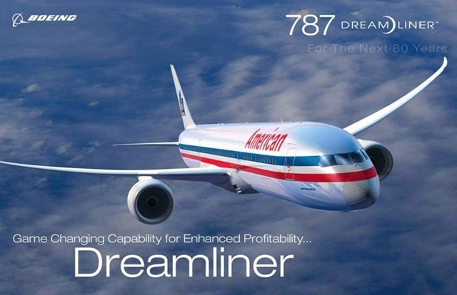 American Airlines' B787 Dreamliner, American Airlines' Business Cabin, American Airlines' Main Cabin, IndianEagle travel booking