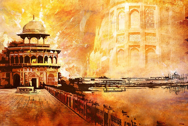 Agra fort art pictures, monuments of India, world heritage day