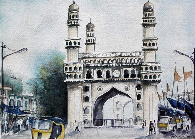 Charminar Hyderabad paintings, Life around Charminar,