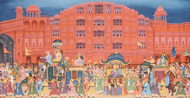Hawa Mahal art paintings, heritage of Rajasthan, Old Indian paintings