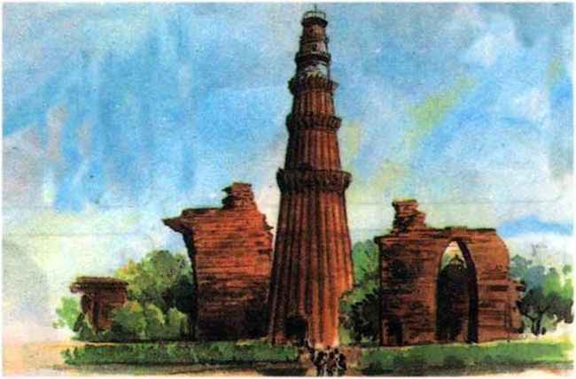 Qutb Minar paintings, Indian heritage pictures, world heritage day