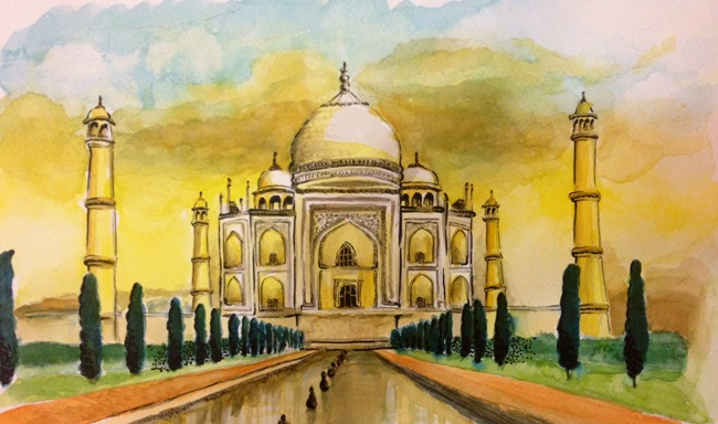 pictures of Taj Mahal, Indian heritage paintings