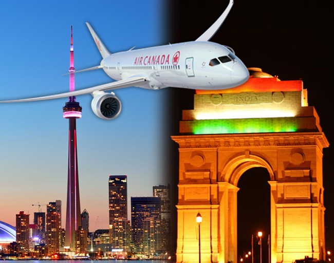 What are Cabin Features & Baggage Details for Air Canada's Toronto to New Delhi Flights?