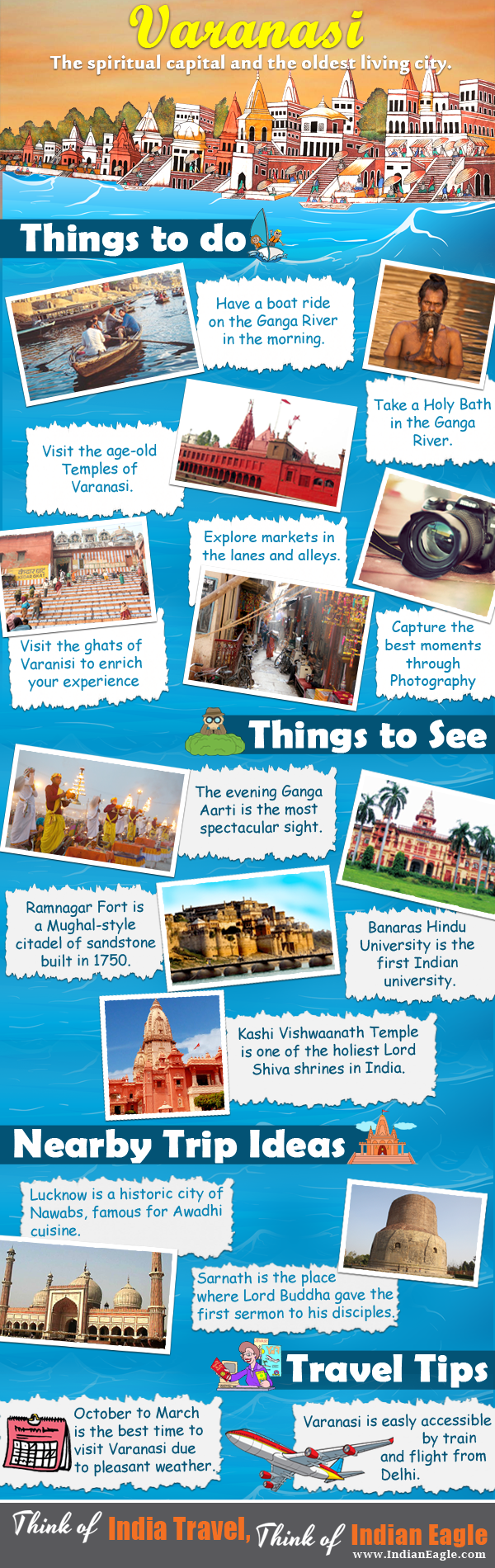 Varanasi travel guide, india travel infographics, Indian Eagle travel