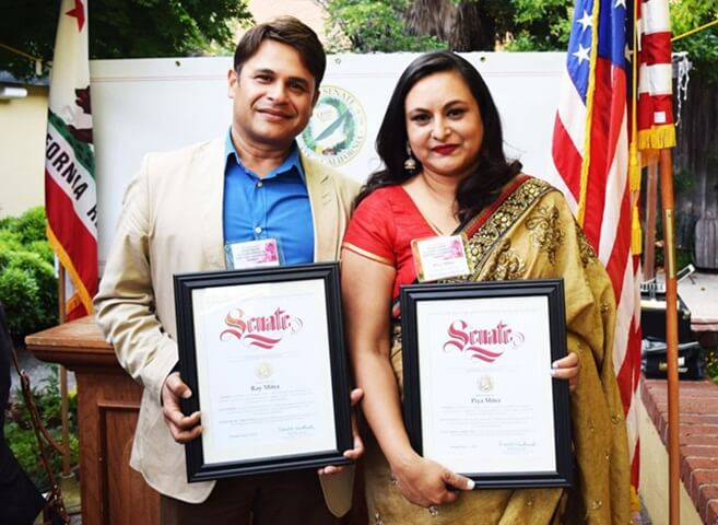 Piya Mitra and Ray Mitra, Founders of Induz in California, Receive American Heritage Award