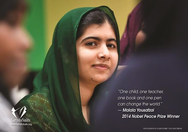 Malala Yousafzai, girls education, women activists, Saris to suits calendar
