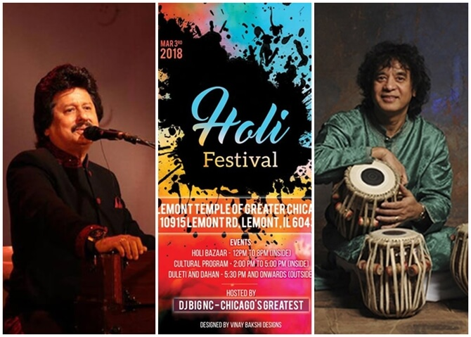Chicago Indian Events in March 2018: Holi, Pankaj Udhas Concert, Zakir Hussain Tabla, Ilayaraja Concert