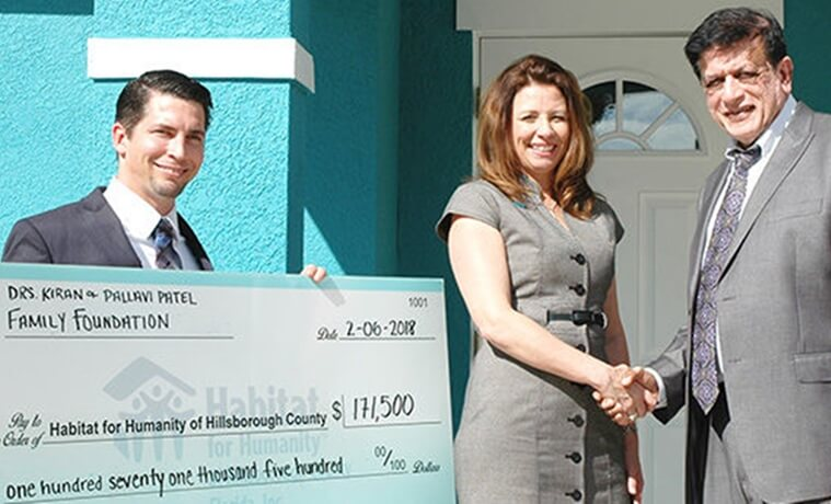 Dr. Kiran Patel news, Kiran Patel Foundation donations, Humanity for Habitat Hillsborough County, Florida Indians