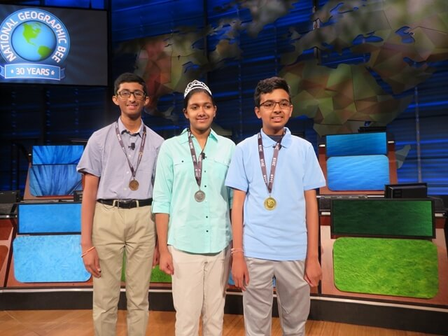 3 Indian American Teens Win Top Prizes in 2018 National Geographic Bee Competition