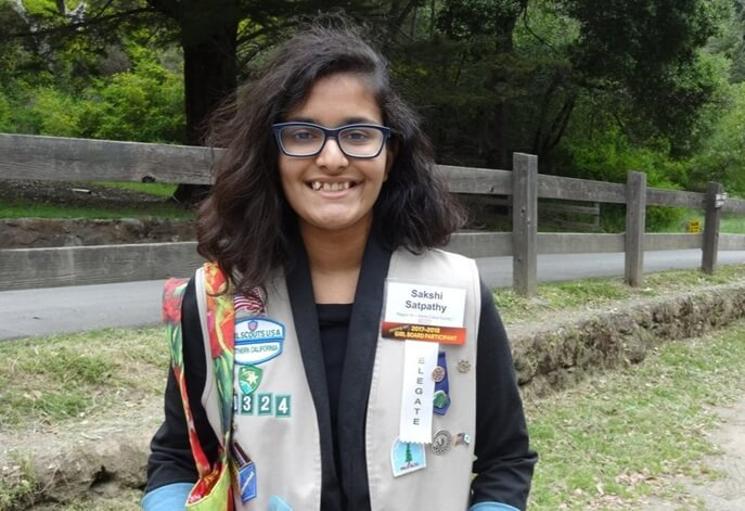 girl scout Sakshi satpathy, Indian American girl scouts, National gold award 2018, California Indians, Young Indians America, child marriage USA