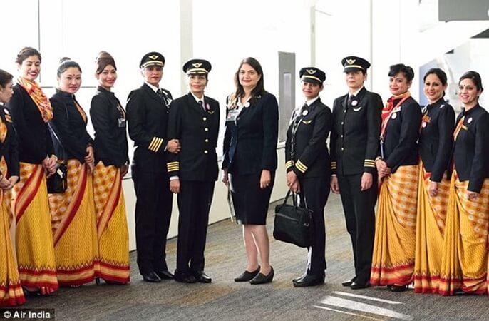Air India nonstop flights, Air India all-women crew flights, Air India women's day celebration, Indian women pilots