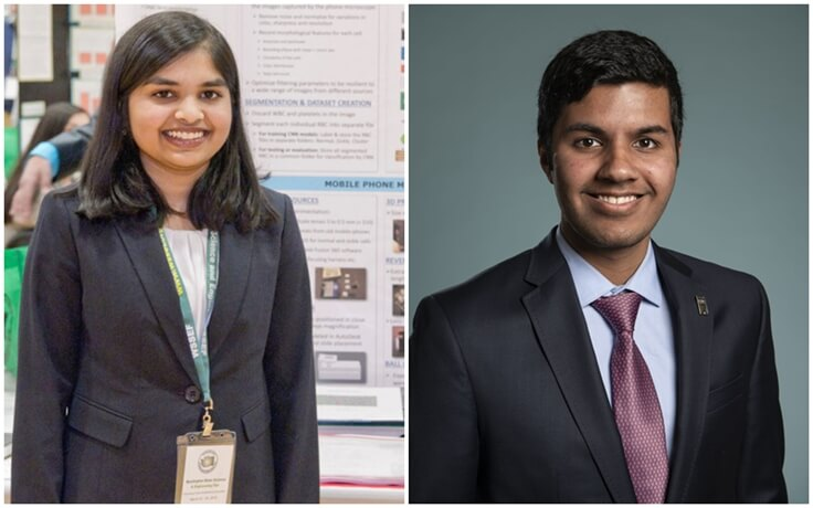 2019 Regeneron Science Talent Search, Eshika Saxena Washington, Adam Ardeishar Virginia, bright Indian American students