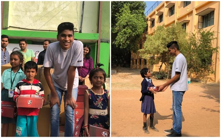 16-year-old Indian American Helps Poor Children with Shoes to Cut School Dropout Rates in India and US