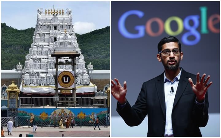 Tirupati Balaji temple income, Sundar Pichai income, Tirumala Temple revenues, Google CEO salary