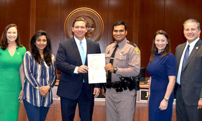 Florida Honors Indian American Mithil Patel as Highway Patrol Trooper of 2019 for Saving a Civilian's Life